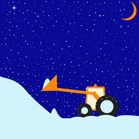 childlike: Childlike illustration of snowy winter evening with clear sky, stars and moon and little funny tractor with snowdrift in scoop