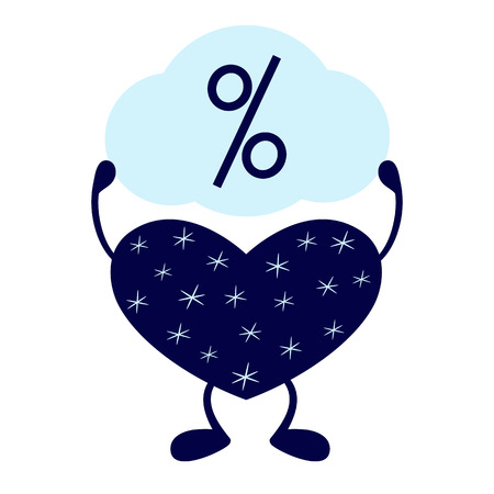 stargazing: Dark blue heart on legs decorated with stylized snowflakes holding speech bubble with percent sign in its hands isolated on white background Illustration