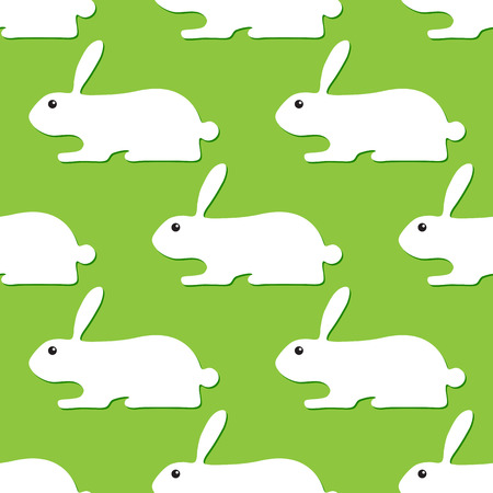 Seamless background with white bunnies with dark green shadows lying one after another isolated on light green background