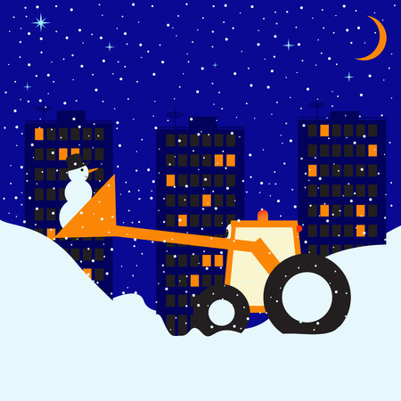 Childlike fantasy illustration of snowy winter night in big town with three multi-storey buildings with lighted windows, clear sky, stars and moon and little funny tractor with snowman in scoop Vector