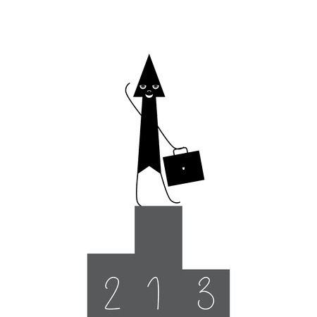 broad: Stylized black arrow with grey eyes, nose and white broad smile standing on the top of three tier award podium holding briefcase in one hand and waving another Illustration