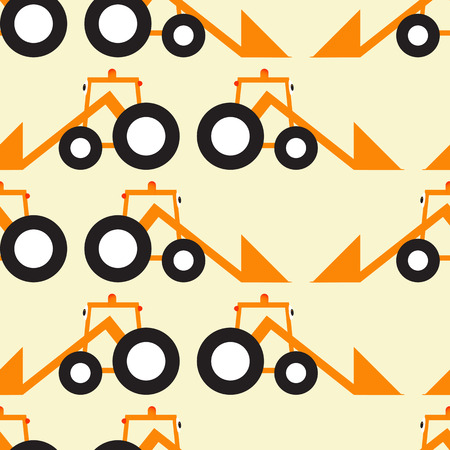 cartoony: Seamless background with orange cartoony tractors with big eyes black tires situated opposite one another isolated