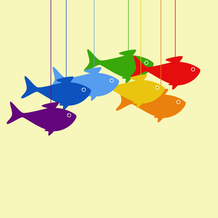 Greeting card with hanging rainbow colored fish Vector