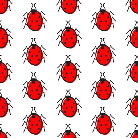 Seamless pattern with red ladybugs with black points in the shape of hearts isolated on white background Vector