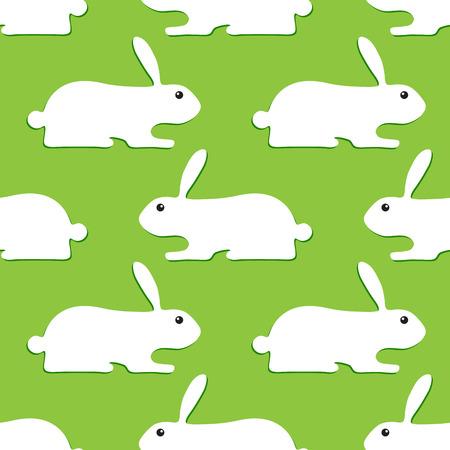 oppos: Seamless background avec des lapins blancs avec des ombres vert fonc� oppos�s l'un � l'autre isol� sur fond vert clair Illustration