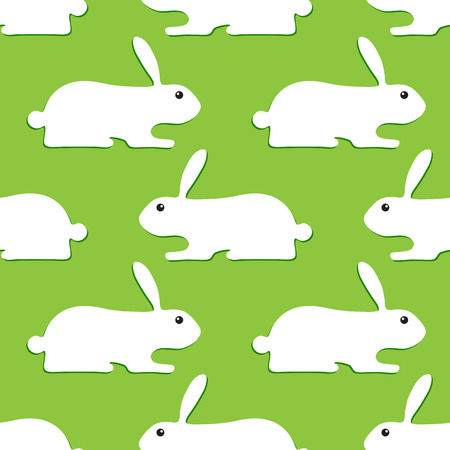 Seamless background with white bunnies with dark green shadows lying opposite one another isolated on light green background Vettoriali