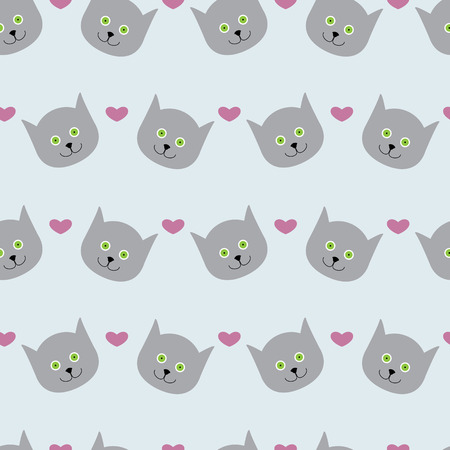 Adorable seamless pattern with light grey cat`s round head with big round green eyes, black nose and sharp ears and rosy hearts isolated on light grey background