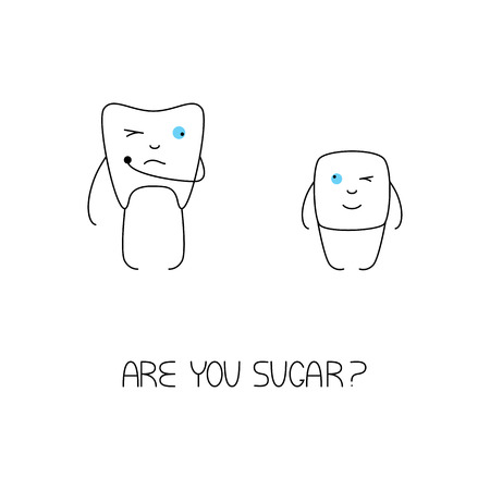 sugar cube: Cute white tooth holding caries hole with one hand, screwing up one eye and looking at sugar cube with another. Sugar cube looking at tooth with one blue eye and winking with another. Are you sugar pun in the bottom of picture