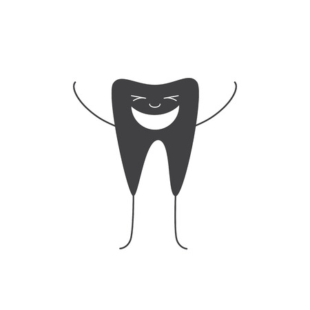 closed eyes: Happy grey tooth personage standing on legs and holding his hands up with closed eyes and big white smile isolated on white background