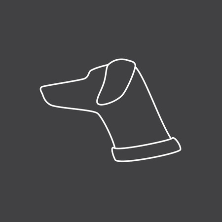 head collar: White contour of lop-eared dog`s head and neck with collar isolated on grey background Illustration