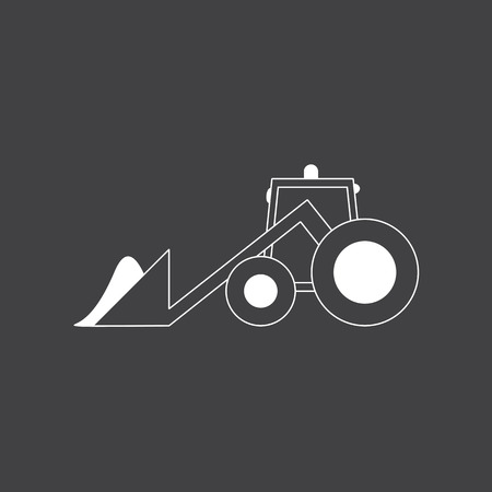 plow: Grey cartoon tractor with snowdrift in plow Illustration