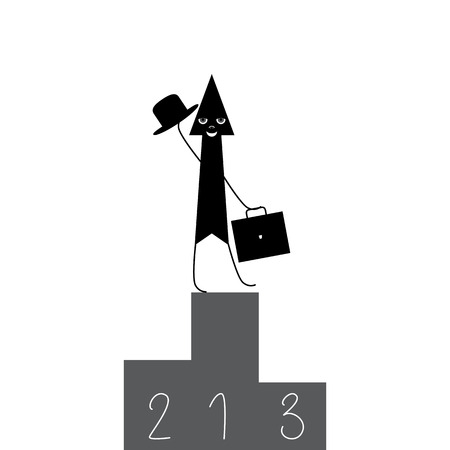 attain: Stylized black arrow with grey eyes, nose and white broad smile standing on the top of three tier award podium holding briefcase in one hand and waving hat with another isolated on white background