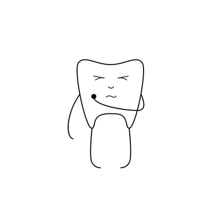 screwing: Cute white tooth holding caries hole with one hand, screwing up eyes and curved mouth isolated on white background