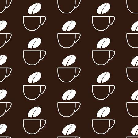contoured: Patr�n sin fisuras con la taza blanca contorneada de caf� y vapor blanco en forma de grano aislado sobre fondo marr�n