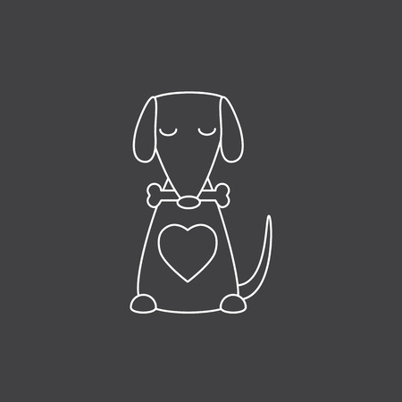 closed mouth: Cute white contoured sitting dog with big heart, closed eyes holding bone in its mouth isolated on grey background