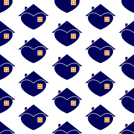 settling: Seamless background with repeating navy house with white contour in the shape of heart with roof and chimney on it, big window and orange light in it isolated on white background