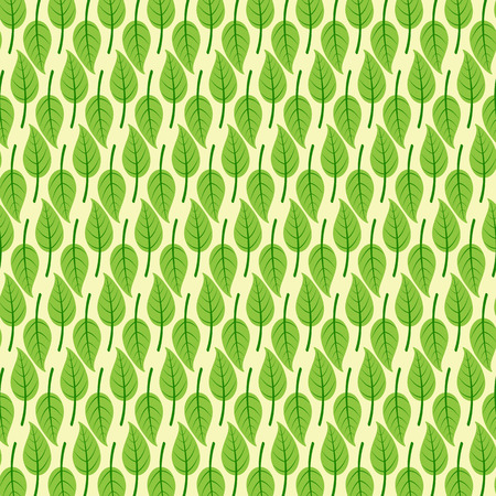 birchen: Background with stylized birch leaves with dark green veins in flat style isolated on light yellow background