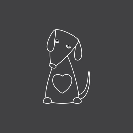 contoured: Cute white contoured geometric sitting dog with big heart, grey eyes isolated on grey background