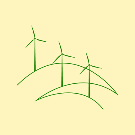 yellow hills: Three windmills standing on stylized outline hills isolated on yellow background