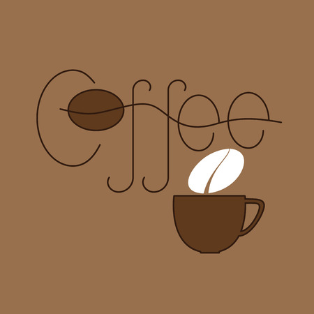 Brown colored lettering coffee and cup with steam in the shape of bean isolated on beige background. Logo template, design element Vector