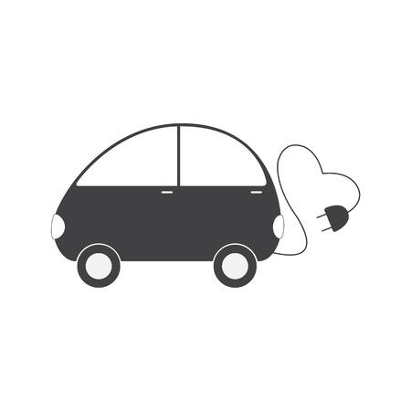 electric vehicle: Di colore grigio veicolo elettrico con il cavo a forma di cuore e sulla spina isolato su sfondo bianco. Eco concetto di trasporto amichevole. Logo template, elemento di design