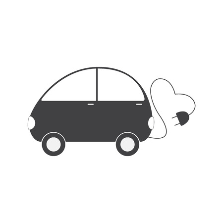 Grey colored electric vehicle with cable in the shape on heart and plug isolated on white background. Eco friendly transportation concept. Logo template, design element Vector