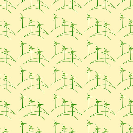 yellow hills: Seamless pattern with repeating outline hills with windmills with leaves isolated on yellow background. Eco concept Illustration