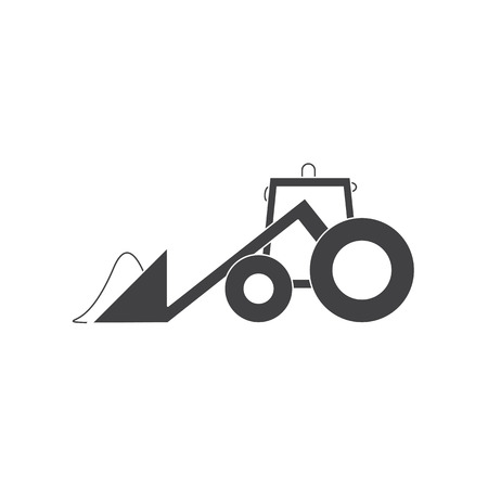 cartoony: Grey cartoony tractor with snowdrift in plow isolated on white backgrownd. icon template, design element