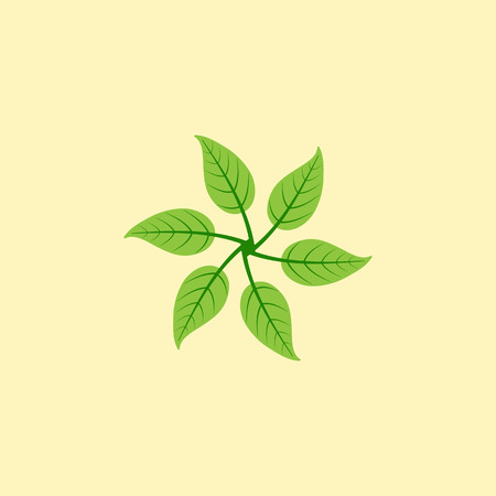 everlasting: Stylized illustration of six leaves in the shape of windmill isolated on yellow background. Eco concept. Logo template, design element