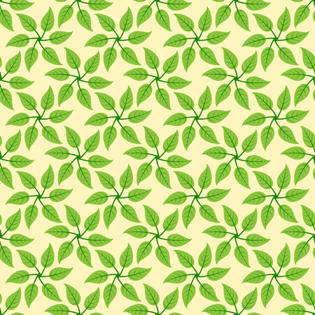 everlasting: Seamless pattern with repeating six leaves in the shape of windmill isolated on yellow background. Eco concept Illustration