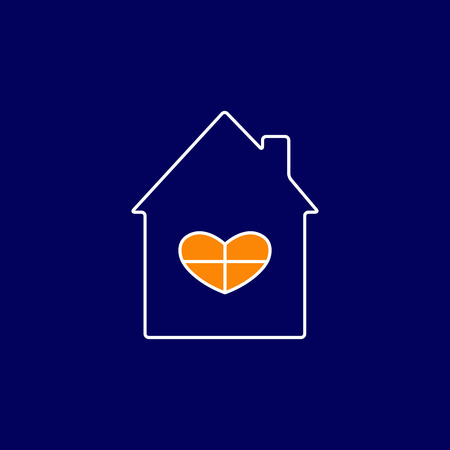 settling: White contoured navy house with roof and chimney on it, big window in the shape of heart and orange light in it isolated on navy background. New house concept. House logo template