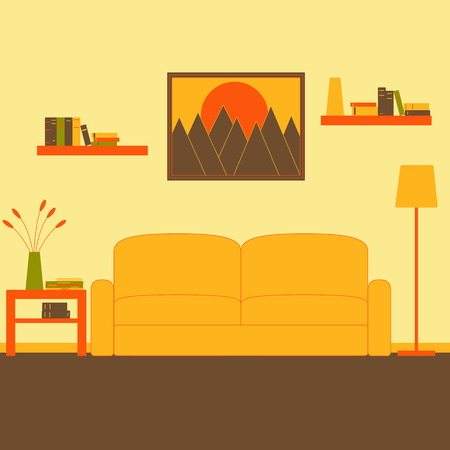 coffee table: Living room interior with sofa, floor lamp, coffee table with magazines, newspaper, books, vase and flowers on it, two bookshelves with books and framed painting with mountains at sunset on the wall. Flat style vector illustration