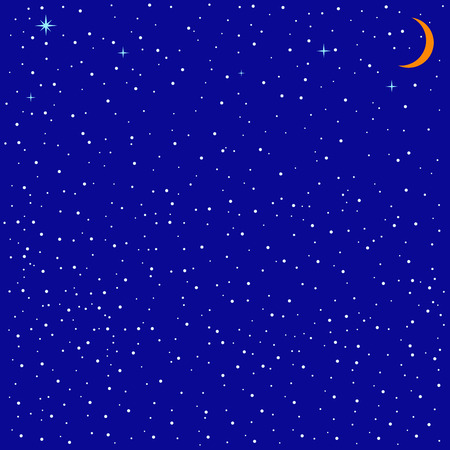 childlike: Childlike illustration of snowy winter evening with clear sky, shining  stars and moon
