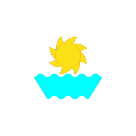 celadon: Sun with stylized rays and waves isolated on white background. Sea resort icon template