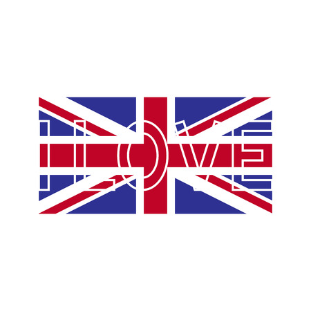 it is isolated: Flag of Great Britain with white contoured lettering I love on it isolated on white background. Design element