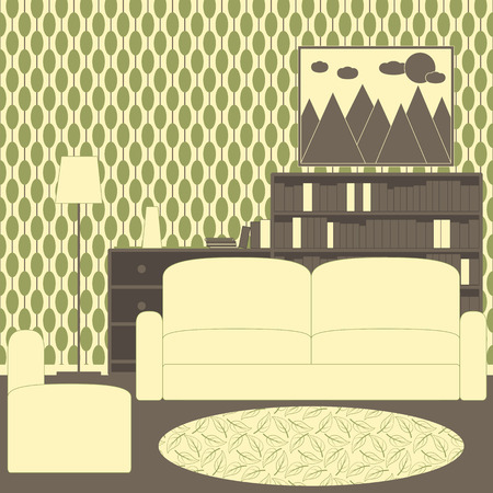 chest wall: Living room interior with vintage wallpaper, sofa, armchair, patterned carpet, floor lamp, chest of drawers with magazines, newspaper, books, shelving with books and framed painting with mountains, sun and clouds on the wall. Flat style vector illustratio
