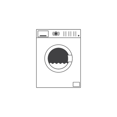 front loading: White colored grey contoured front loading type washing machine with many buttons and water inside it