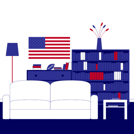 carpeting: Living room interior with white walls, navy carpeting on the floor, sofa, floor lamp, coffee table, chest of drawers, shelving, books, magazines, newspapers, vase, flowers, ball for American football and American flag on the wall
