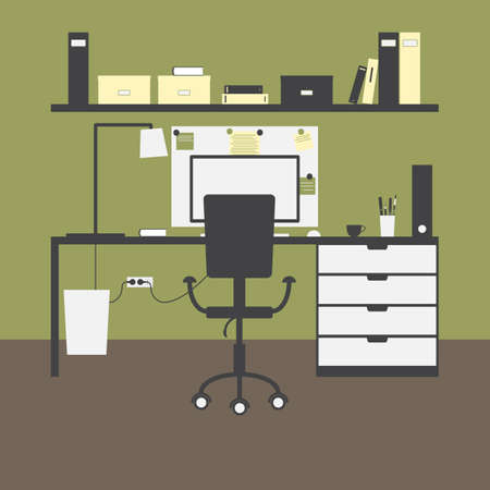 big bin: Workplace with big table, chair, lamp, monitor, mouse, cup, shelves, books, boxes, folders, board, notes, bin and green walls and brown floor as background Illustration