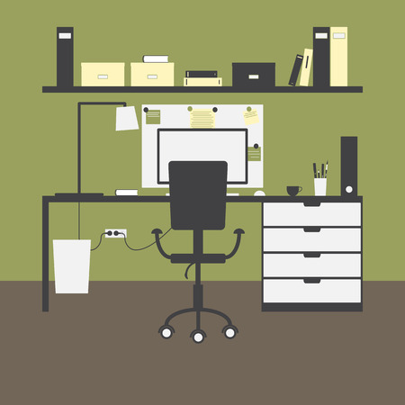 brash: Workplace with big table, chair, lamp, monitor, mouse, cup, shelves, books, boxes, folders, board, notes, bin and green walls and brown floor as background Illustration