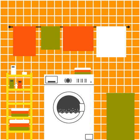 washing powder: Orange laundry room interior with ceramic tile wall, front loading type washing machine, laundry basket, drying towels and shelving with clean towels, packs of washing powder, bar of soap