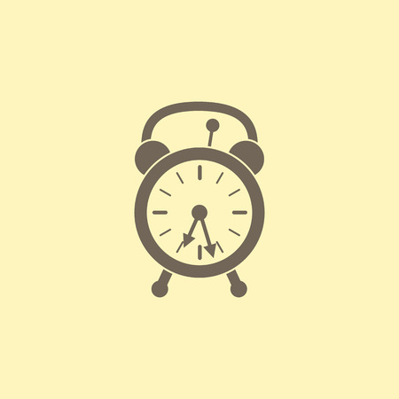 flaxen: Retro styled beige alarm clock with two arrows isolated on flaxen background. Logo template, design element