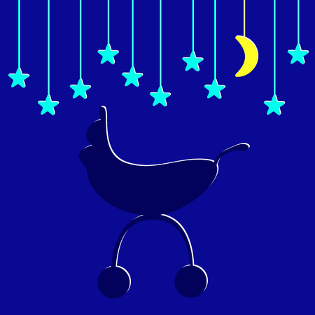 Baby shower background with navy colored pram and several blue stylized stars and one yellow moon hanging over it Illustration