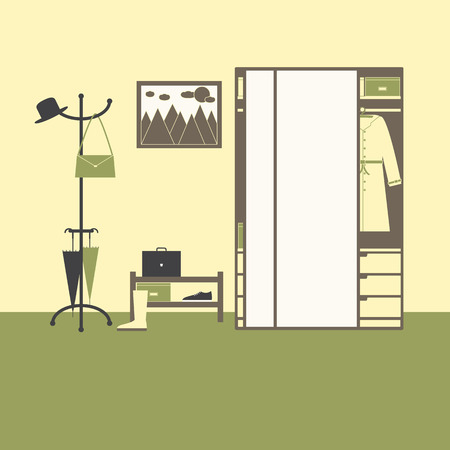 coat hanger: Hall interior with big mirror closet with drawers, boxes, coat, hanger with hat, bag and umbrellas, shelving with box, gumshoe and suitcase, high boot on olive floor, painting with sun, clouds and mountains on yellow wall Illustration