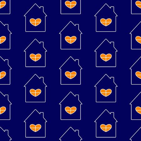 hypothec: Seamless pattern white contoured navy house with roof and chimney on it, big window with white frame in the shape of heart and orange light in it isolated on navy background. New house concept Illustration