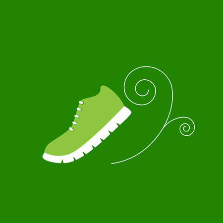 Green colored sneaker with white ribbed sole and decorative element in the shape of white spiral near it isolated on bright green background Illustration