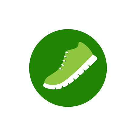 ribbed: Light green sneaker with white ribbed sole situated in bright green circle on white background