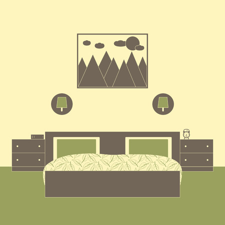 carpeting: Bedroom interior with one twin size bed, two chests of drawers, lamps on wall, book, alarm clock, framed painting with mountains, sun and clouds on the flaxen wall and olive carpeting