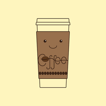 coffee beans isolated: Contour illustration of funny take away coffee cup with cardboard holder with eyes and smile, decorated with lettering coffee and coffee beans isolated on yellow background. icon template, design element