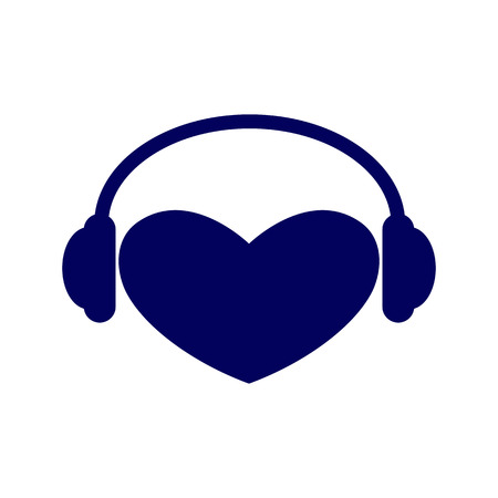 it is isolated: Navy colored heart with headphones on it isolated on white background. Music fan concept. icon template, design element